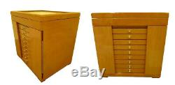 100 Pen Case Wood With Glass Top Display Pinewood
