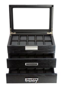 10 20 30 Wrist Watch Black Oak Wood Leather Storage Display Box Display Case
