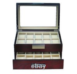 10 20 Slot Wrist Watch Oak Wood Storage Display Box Display Case Chest Cabinet