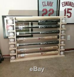 10 Bat Wood Free Standing Baseball Bat Display Rack