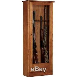 10 Gun Rifle Safe Classic Wood Cabinet Security Cash Jewelry Firearm Storage