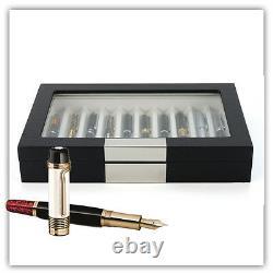 10 Pen slot Fountain Ebony Wood glass Display Case Organizer Storage Box Jewelry