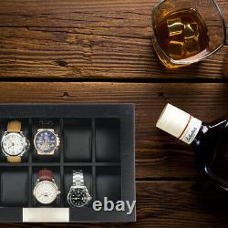 10 Piece Black Wood Watch Display Case Storage Box Stainless Steel Accents