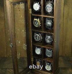 10 Slot Showcase Keeps Watches Wood Watch Box Display Case Jewelry Storage