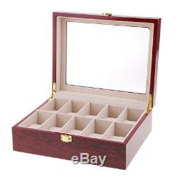 10 Slot Wood Watch Display Case Holder Glass Top Jewelry Storage Organizer