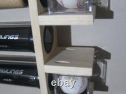 11 Bat Wood Baseball Bat Display Rack with Multi Shelves (SEE DESCRIPTION)