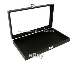 12 Black Glass Lid Top Utility Jewelry Hobby Display Storage Sales Box Cases