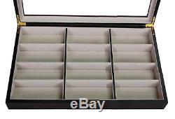 12 Ebony Walnut Wood Eyeglass Sunglass Oversized Storage Display Case Organizer