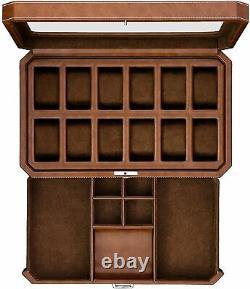 12 Slot Leather Watch Box with Valet Drawer -Luxury Watch Case Display Organizer