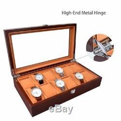 12 Slots Men Watch Box Case Wood Storage Organizer Display Large Holder Gift