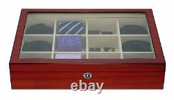 12 Tie Display Case Cherry Belts Mens Accessories Storage Box Fathers Gift