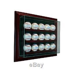15 Baseball Cabinet Style Wood Display Case 15 Ball Hinged Door Glass CHERRY