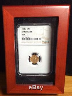 1857 Gold One Dollar Coin, NGC Graded AU Details (Bent) in wood display case