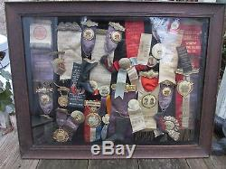 1890s -1910 era Collection of Odd Fellows Badges in Wood Display Case! 25 plus