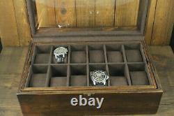 18 Slot Watch Box Wood Display Case Organizer Jewelry Storage, Wooden Watch Box