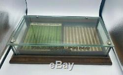 1920s PARKER Fountain Pen Counter Display Case WOOD and GLASS 2 Trays and Key