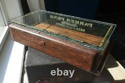 1920s PARKER PENS LUCKY CURVE Fountain Pen Counter OAK / GLASS Display Case