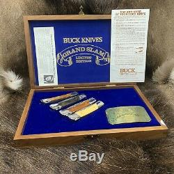 1981 Buck Grand Slam Lockback Knife Collection In Wood Display Case Mint /Rare