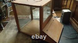 19thc Antique Country Store Counter Peanut Candy Dispenser Wood Glass Primitive