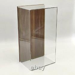 1/18 Acrylic Case Models Display Box Transparent Dustproof Wood Grain Leather