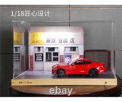 1/18 Initial D Fujiwara Tofu Shop Scene Figure LED Display Case for AE86