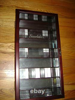 2001 Retired Snowbabies Miniatures Pewter Wood Cherry Display Case Wooden Rare