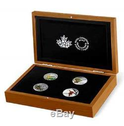 2015 FORESTS of CANADA 4 COIN SET with WOOD DISPLAY CASE, PURE. 9999 SILVER