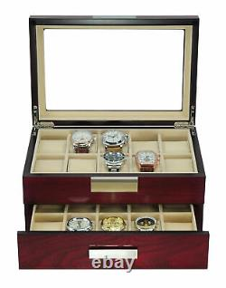 20 Cherry Wood 2 Level Watch Case Jewelry Storage Drawer Glass Top Display Case