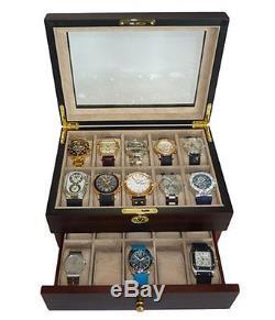 20 Ebony Walnut Dark Wood Mens Watch Collector Jewelry Display Case Box Gift