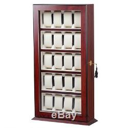 20 Rosewood Watch Display Acrylic Top Storage Organizer Stand Show Case Box Mens
