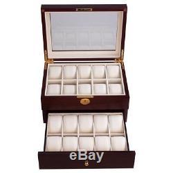 20 Slots Watch Box Display Case Collector Men Valentine's Gift Cherry Wood