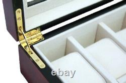 24 Slot Watch Storage Rose Wood Display Chest Box Display Wooden Case Cabinet