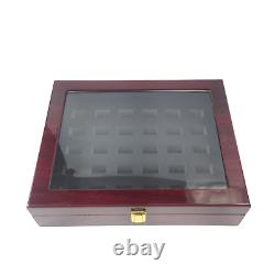 30 Hole HQ Cherry Wood Large Championship & Class Ring Display Case Clear Window
