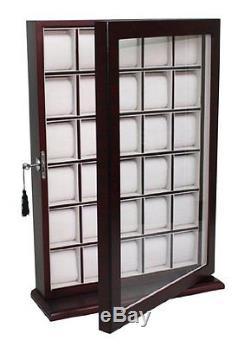 30 Pcs Cherry Wood Watch Display Wall Hanging Case Storage Organizer Box Stand