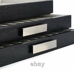 30 Pen slot Fountain Ebony Wood glass Display Case Organizer Storage Box Jewelry