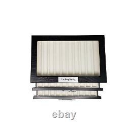 30 Piece Personalized Black Ebony Wood Three Level Fountain Pen Display Case Box