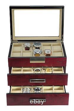 30 Slot Wrist Watch Cherry Wood Storage Display Box Display Case Chest Cabinet