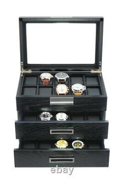 30 Slot Wrist Watch Oak Wood Storage Display Box Display Case Chest Cabinet