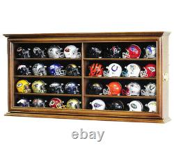32 Pocket Pro NFL Mini Helmet Helmets Display Case Wall Cabinet 2 SIDES- Locks