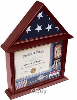 3x5 Flag Display Case with Certificate and Document Holder Mango Finish