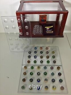 45PC Vintage Pokemon Marble LOT with Display Case Cabinet Set 1999 Toy Biz HTF