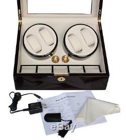 4 + 5 Ebony Lacquer Watch Winder Storage Display Case Box Automatic Rotation