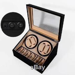 4+6 Automatic Rotation Leather Wood Watch Winder Storage Display Box Watch Case