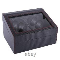 4+6 Automatic Rotation Watch Winder Leather Wood Storage Case Display Box US