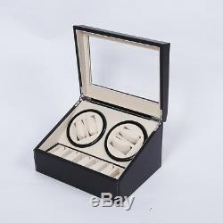 4+6 Display Case Box Automatic Watch Winder PU Dual Automatic Motor Storage