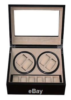 4 + 6 Ebony Walnut Wood Watch Winder Storage Display Case Box Automatic Rotation