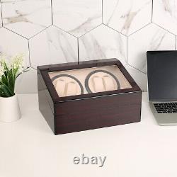 4 6 Watch Winder Automatic Rotation Wood Display Case Storage Organiser