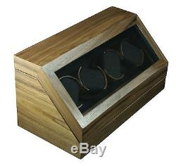 4 Slot Classic Wood Walnut Automatic Watch Winder Watch Box Display Case