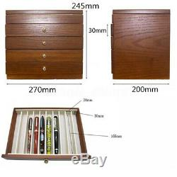 50 Pens Wooden Box Fountain Pen Display Wood Storage Case Holder 5 Layer Slots