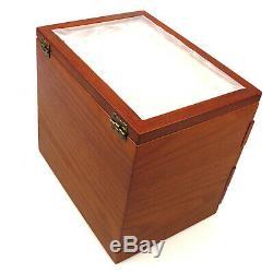 50 Slots Wooden Fountain Pen Pencil Holder Display Case Storage Organizer Box